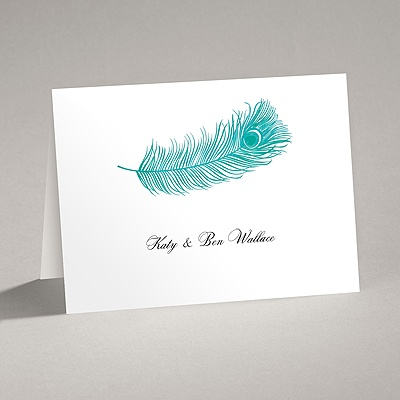 Peacock Plume - Teal - Thank You Card and Envelope