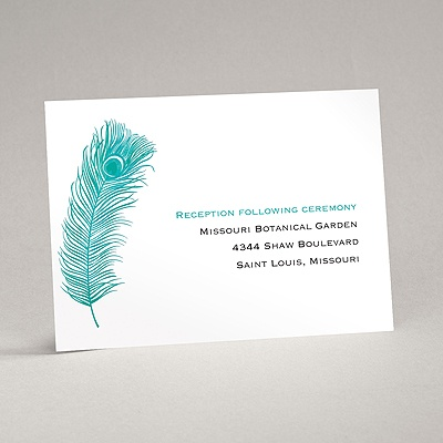 Peacock Plume - Teal - Reception Card