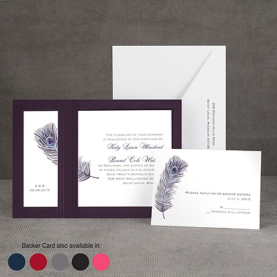 Peacock Plume - Purple - Layered Invitation