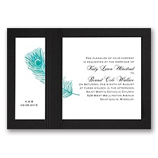 Peacock Plume - Teal with Black - Layered Invitation