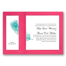 Peacock Plume - Teal with Fuchsia - Layered Invitation