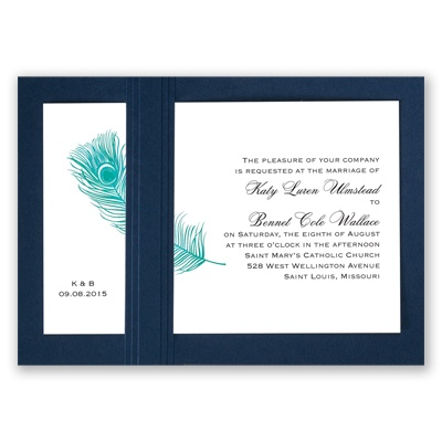 Peacock Plume - Teal with Navy - Layered Invitation