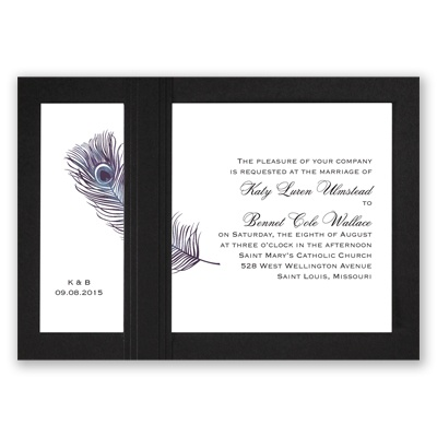 Peacock Plume - Purple with Black - Layered Invitation