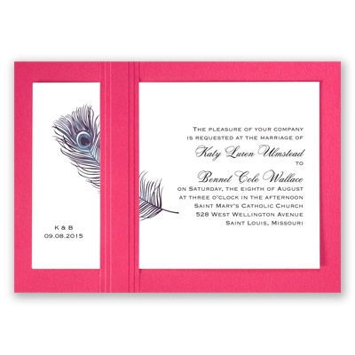 Peacock Plume - Purple with Fuchsia - Layered Invitation