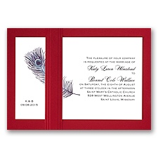 Peacock Plume - Purple with Merlot - Layered Invitation