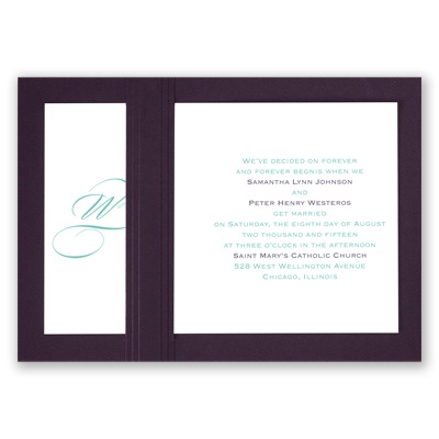 Elegant Monogram - Eggplant - Layered Invitation