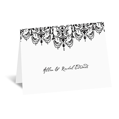 Chandelier Damask - Thank You Note and Envelope