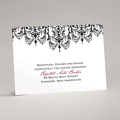 Chandelier Damask - Reception Card