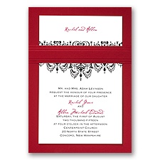 Chandelier Damask - Merlot - Layered Invitation