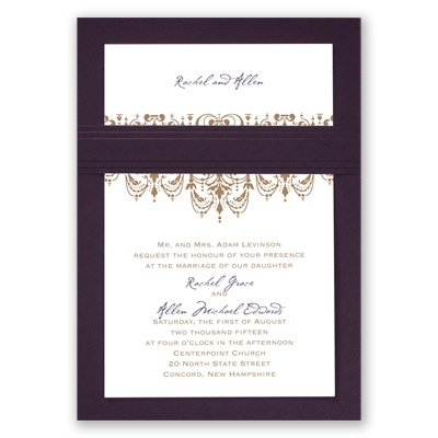 Chandelier Damask - Eggplant - Layered Invitation