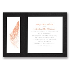 Delicate Feather - Black - Layered Invitation