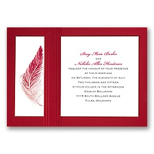 Delicate Feather - Merlot - Layered Invitation