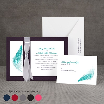 Delicate Feather - Layered Invitation