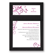 Swirling Love Birds - Black - Layered Invitation