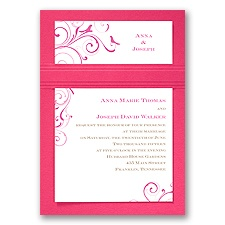 Swirling Love Birds - Fuchsia - Layered Invitation