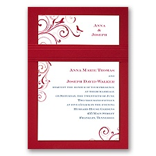 Swirling Love Birds - Merlot - Layered Invitation