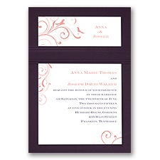 Swirling Love Birds - Eggplant - Layered Invitation