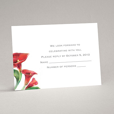 Colorful Calla Lily - Bright Red - Response Card and Envelope
