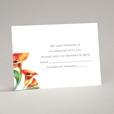 Colorful Calla Lily - Deep Orange - Response Card and Envelope