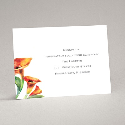 Colorful Calla Lily - Deep Orange - Reception Card