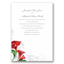 Colorful Calla Lily - Bright Red - Invitation