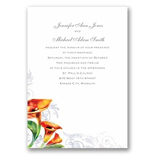 Colorful Calla Lily - Deep Orange - Invitation