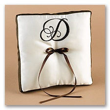 Chocolate/Ecru With Monogram Ribbon Trim Pillow