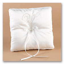 White/White With Monogram Ribbon Trim Pillow