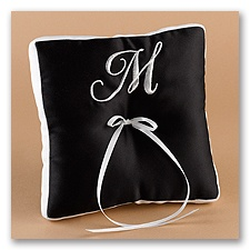 White and Black Pillow With A Monogram
