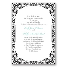 Vintage Filigree - Black - Invitation