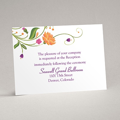 Fresh Floral Monogram - Reception Card