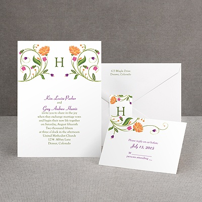 Fresh Floral Monogram - Invitation