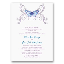 Delicate Butterfly - Blue Invitation