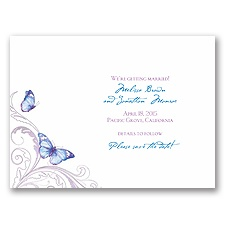 Delicate Butterfly - Blue Save the Date Card