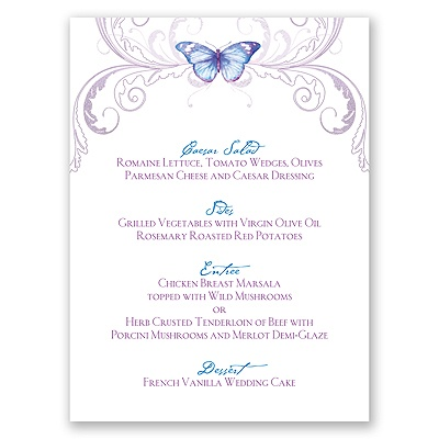 Delicate Butterfly - Mosaic - Menu Card