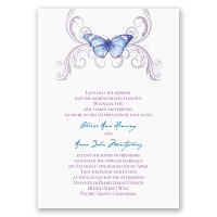Delicate Butterfly - Blue Invitation