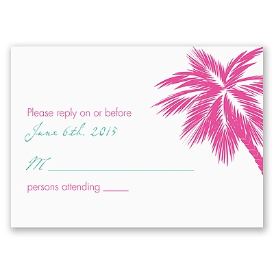 Tropical Palms - Fuchsia Response Card and Envelope