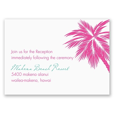 Tropical Palms - Fuchsia Reception Card