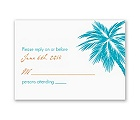 Tropical Palms - Turquoise Response Card and Envelope