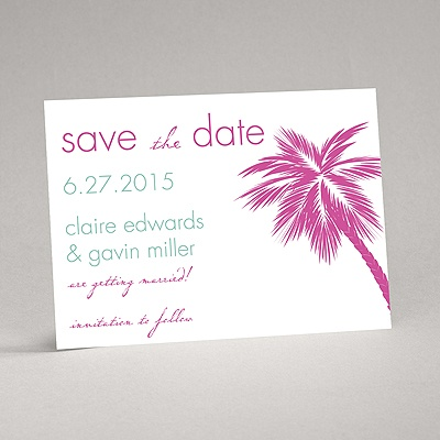 Tropical Palms - Fuchsia Save the Date