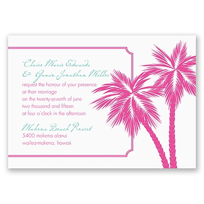 Tropical Palms - Fuchsia Invitation
