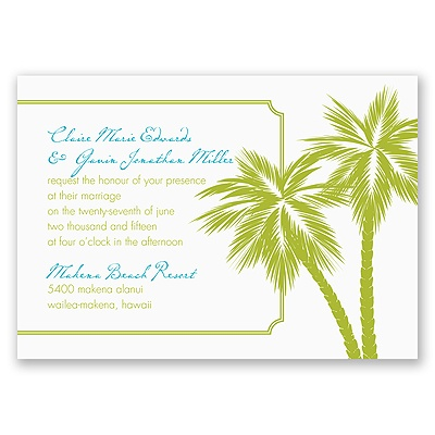 Tropical Palms - Green Invitation