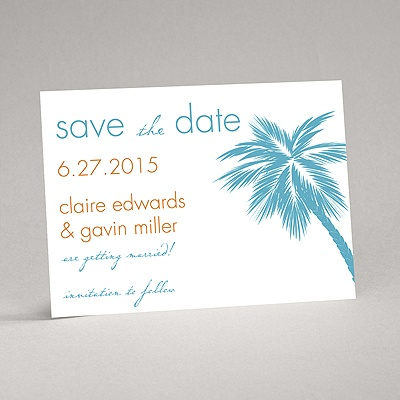 Tropical Palms - Turquoise Save the Date