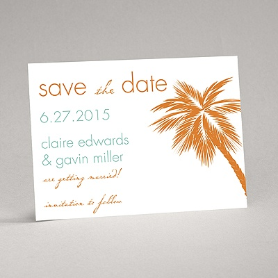 Tropical Palms - Orange Save the Date