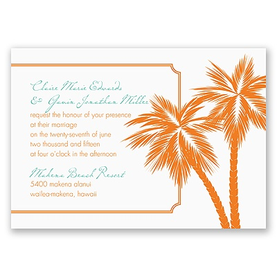Tropical Palms - Orange Invitation