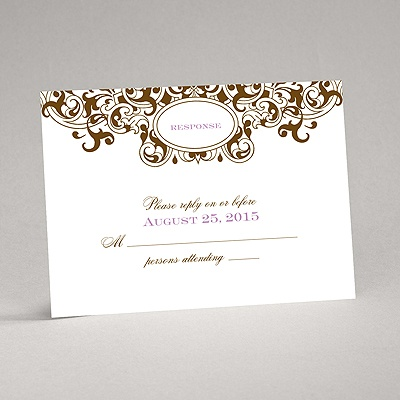 Damask Monogram - Brown - Response Card and Envelope