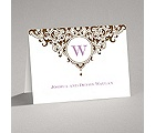Damask Monogram - Brown - Thank You Card and Envelope