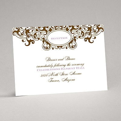 Damask Monogram - Brown - Reception Card