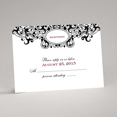 Damask Monogram - Black - Response Card and Envelope
