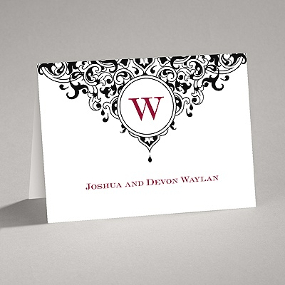 Damask Monogram - Black - Thank You Card and Envelope